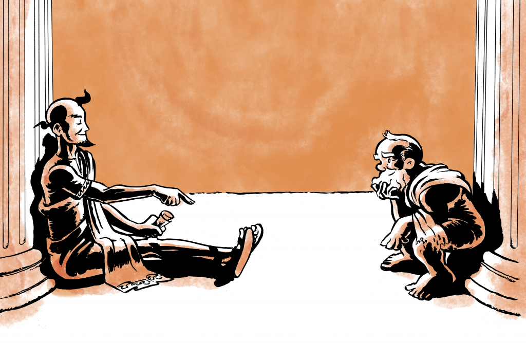Conversation between Euthyphro and Socrates with an orange background