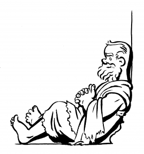 Socrates reclining against a pillar