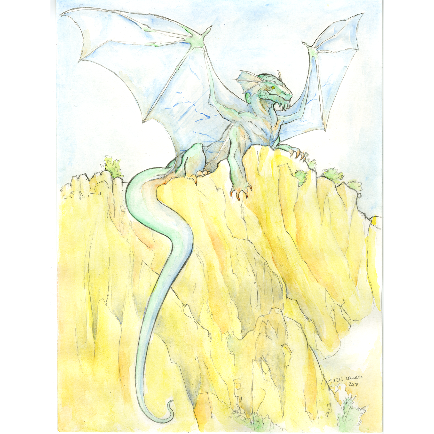 watercolor of dragon